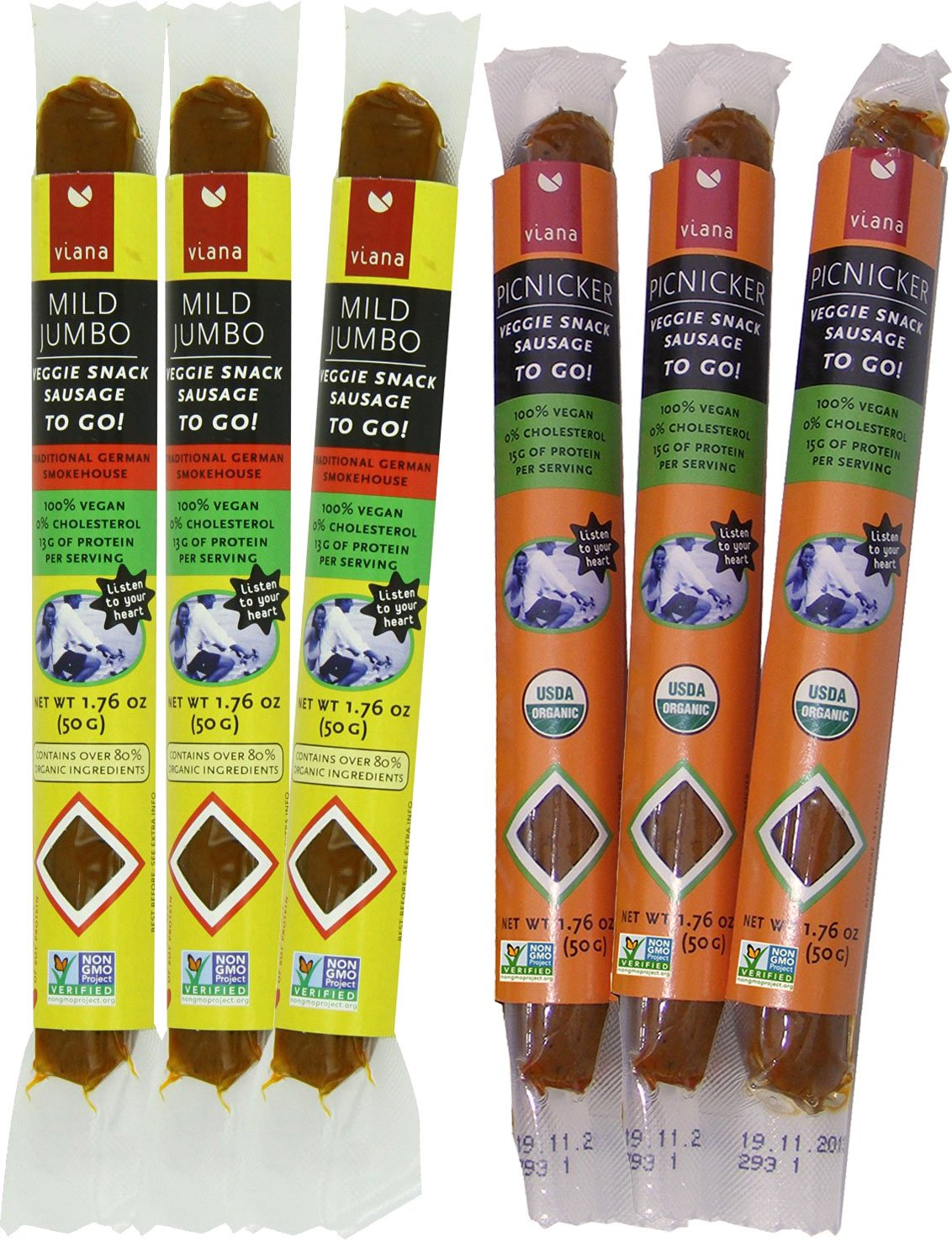 Viana - Veggie Snack Sausages, 1.76 Once - Mixed Pack (Pack of 6)