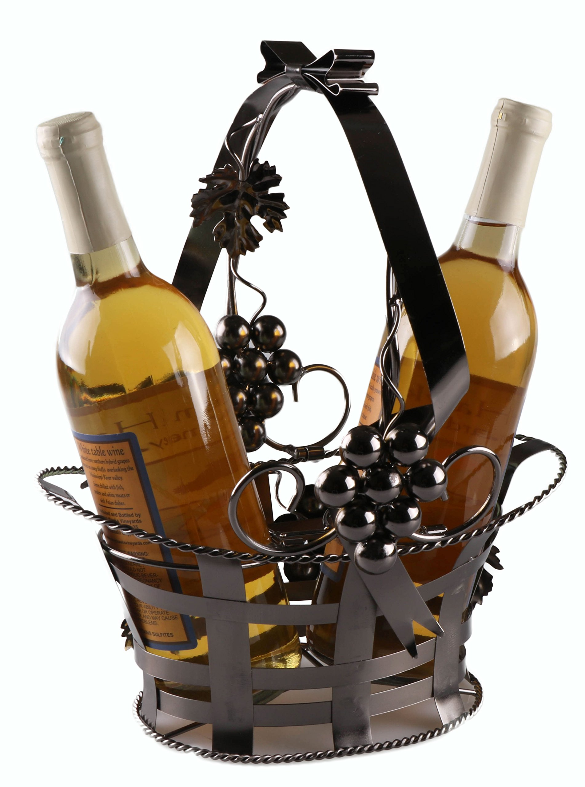Clever Creations Wine Bottle Gift Holder Premium Metal Design Easily Fits 2 Bottles | Decorative Design | Great Gift Basket for Your Favorite Wine | Wide Stable Base | Grape Arbor Motif | Brown by Clever Creations
