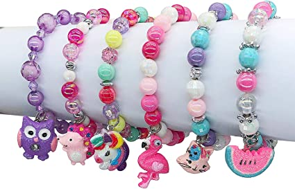 5pc Colorful Unicorn Bracelet Little Girl Animal Bracelets Teens Kids Owl Pendant Beaded Bracelet Girl Party Favor Pretend Play Bracelet