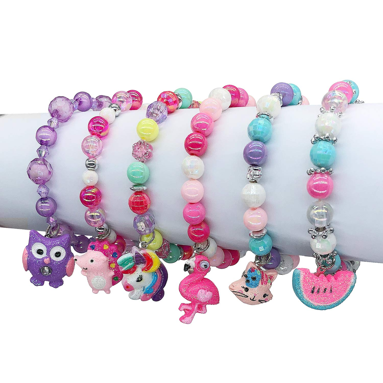 Elesa Miracle 6pc Little Girl Teens Kids Shiny Unicorn Flamingo Owl Mermaid Pendant Beaded Bracelet Value Set Kids Girl Party Favor Pretend Play Bracelet, Set A