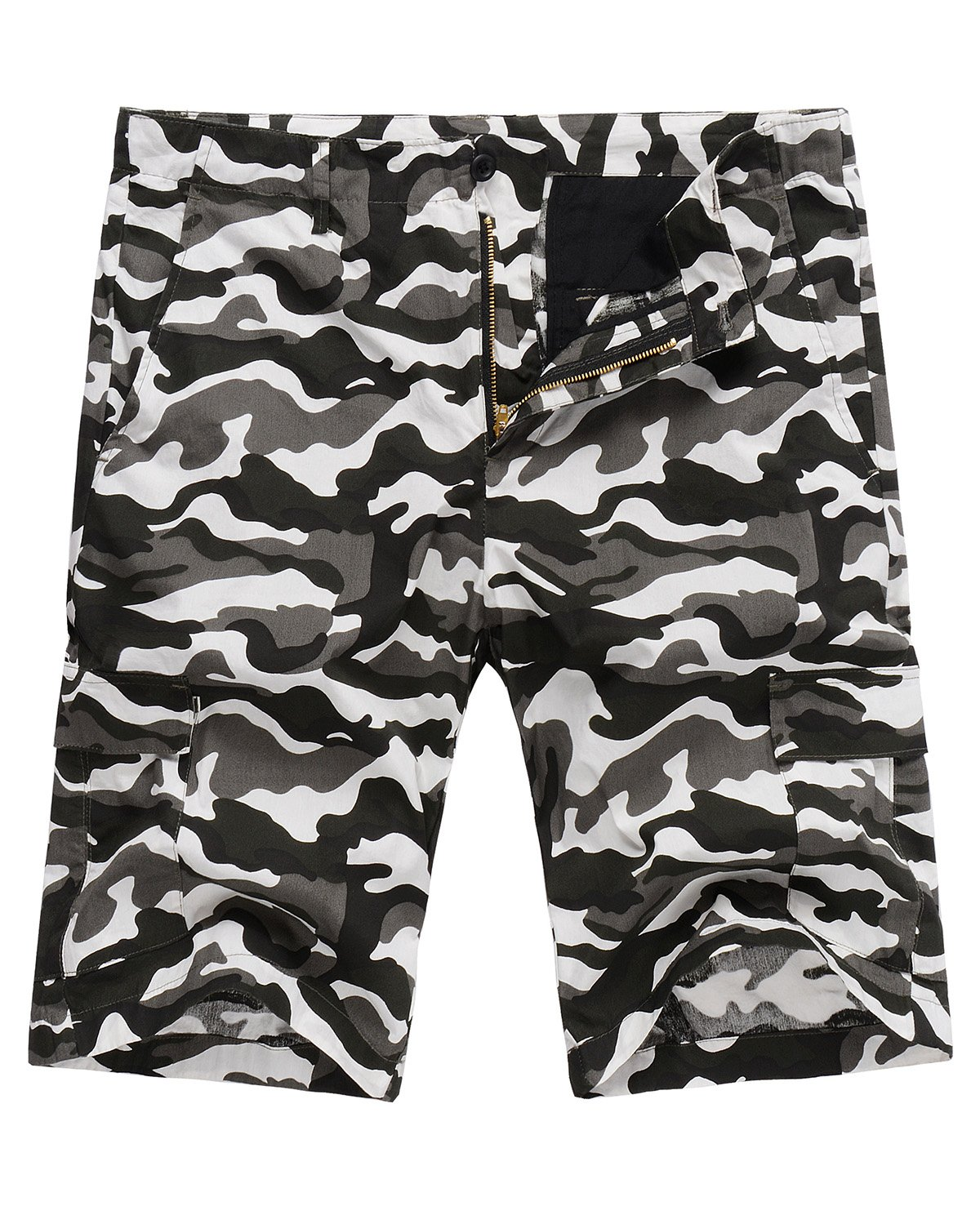 Hanmor Men's Casual Loose Fit Cotton Tactical Camouflage Cargo Shorts with Multi Pockets Black Camo 32