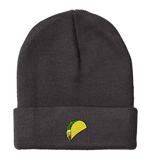 owndis BNE Embroidered Taco Beanie for Men and Women Hat-EM-0017-Black