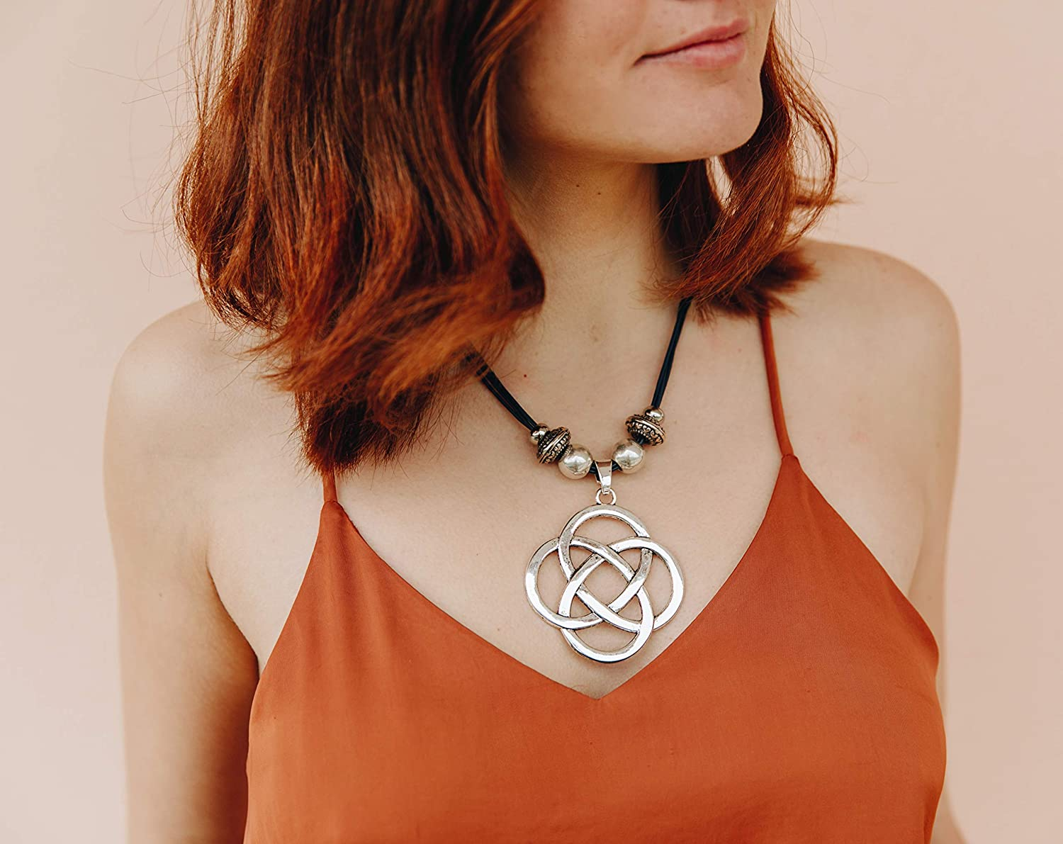 Boho Statement Bold Necklace For Women Infinity Knot Unique Genuine Leather and Silver Tone Pendant