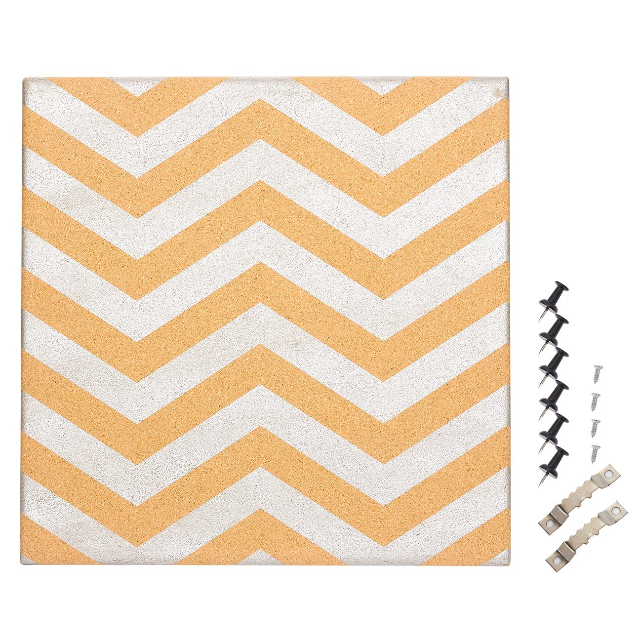 Cork Bulletin Board - Decorative Wall DecorCorkboard with Silver Chevron Design, 6 Push Pins Included for Pinning Memos and Reminders, 15.7 x 15.7 x 0.7 inches