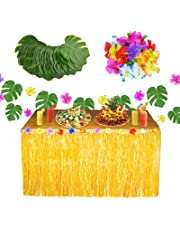 Hawaiian Table Skirt 9.6ft Luau Grass Skirt with 20 Pcs Tropical Palm Leaves 20 Pcs Faux Silk Flowers for Luau Theme Party Decoration