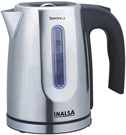 Inalsa Spectra 1.2-Litre 1630-Watt Electric Kettle Stainless steel Kettles at amazon