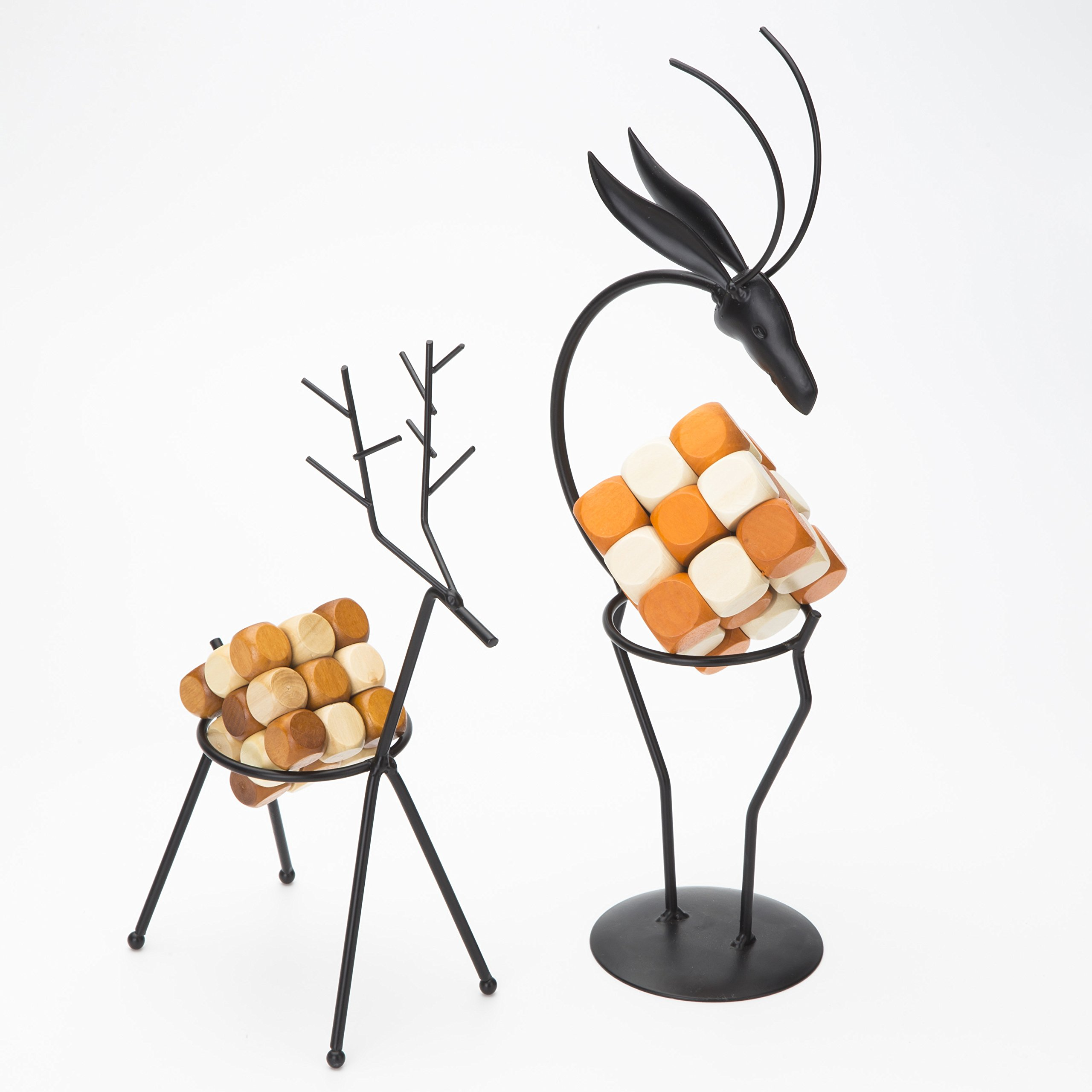 Metal Handicraft Stand Deer with European Elements Minimalist Design ,2 Pieces Deer and 2 Pieces ''Drgon Wagging Tail'' Brain Teaser Toys ,Best Gift for Kids/Adults by Like KongMing (Image #1)