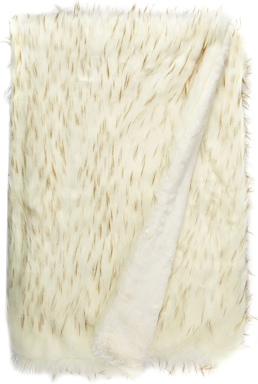 Best Home Fashion Iced Fox Faux Fur Throw Blanket - 58
