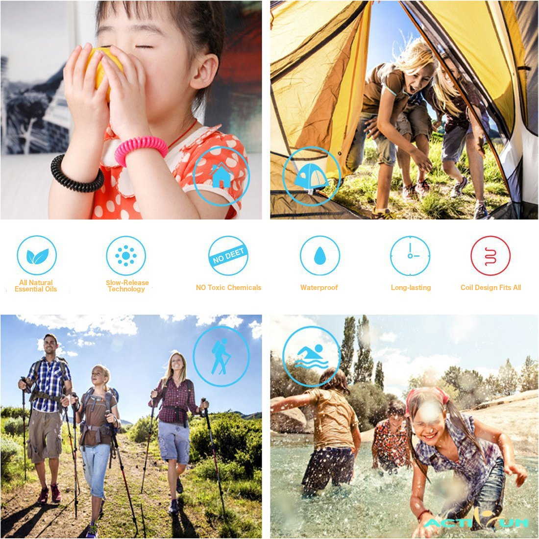 Mosquito Repellent Bracelet Natural Waterproof | 10 Pack | Insect Repellent Wrist Bands, Safe for Kids, Toddlers, Adults, Pets, Outdoor Mosquito Protection, Deet-Free, Best Bug Band and Patch