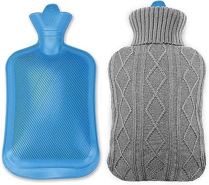 Bouillotte longue avec housse tricot/ée en tissu super doux en caoutchouc naturel pur 2 l