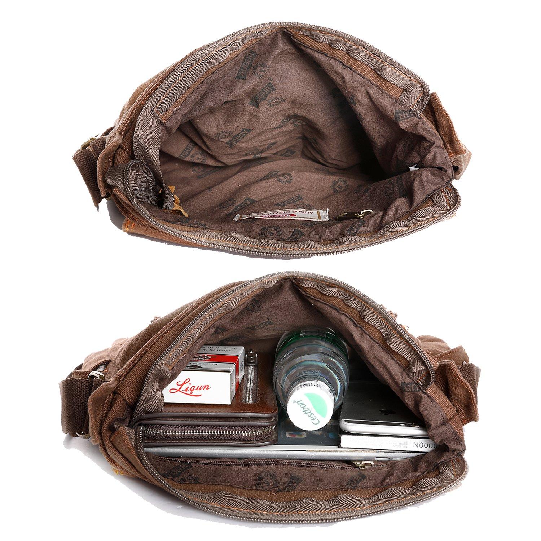 Mupack Small Casual Handbag Travel Canvas Bag Shoulder Bag Messenger Cross Body Sling Bag Crazy Horse Leather Handbag Coffee