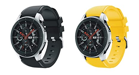 XingWangFa for Samsung Galaxy Watch (46mm) Straps Correas[2 Pack] 22mm Soft Silicone Sport Correa Replacement Strap For Samsung Galaxy Watch (46mm) ...