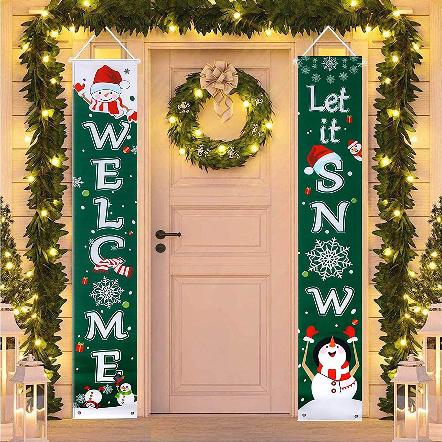 """N4 Let it Snow Welcome Christmas Porch Sign, Xmas Christmas Decoration Decor Clearance Hanging Banners Flag for Winter Holiday Home Yard Indoor Outdoor Front Door Living Room Kitchen Wall, 12"""" x 71"""""""