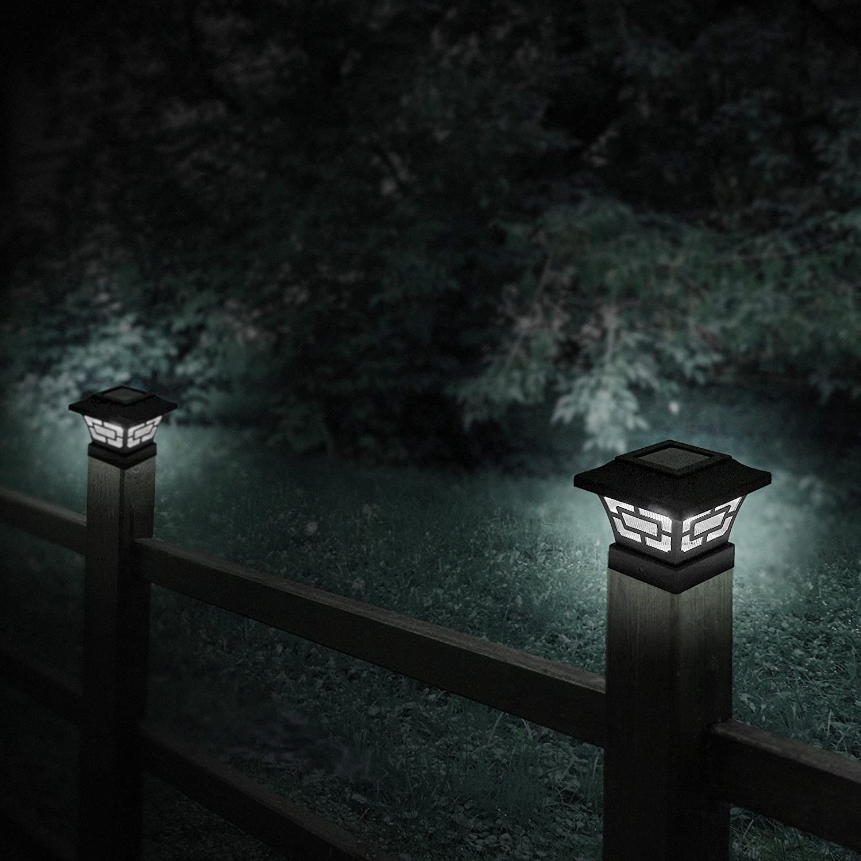 Black, 2 Pack Westinghouse Hilltop 20 Lumens Solar Fence Post Cap Lights for 4x4 Wood Posts