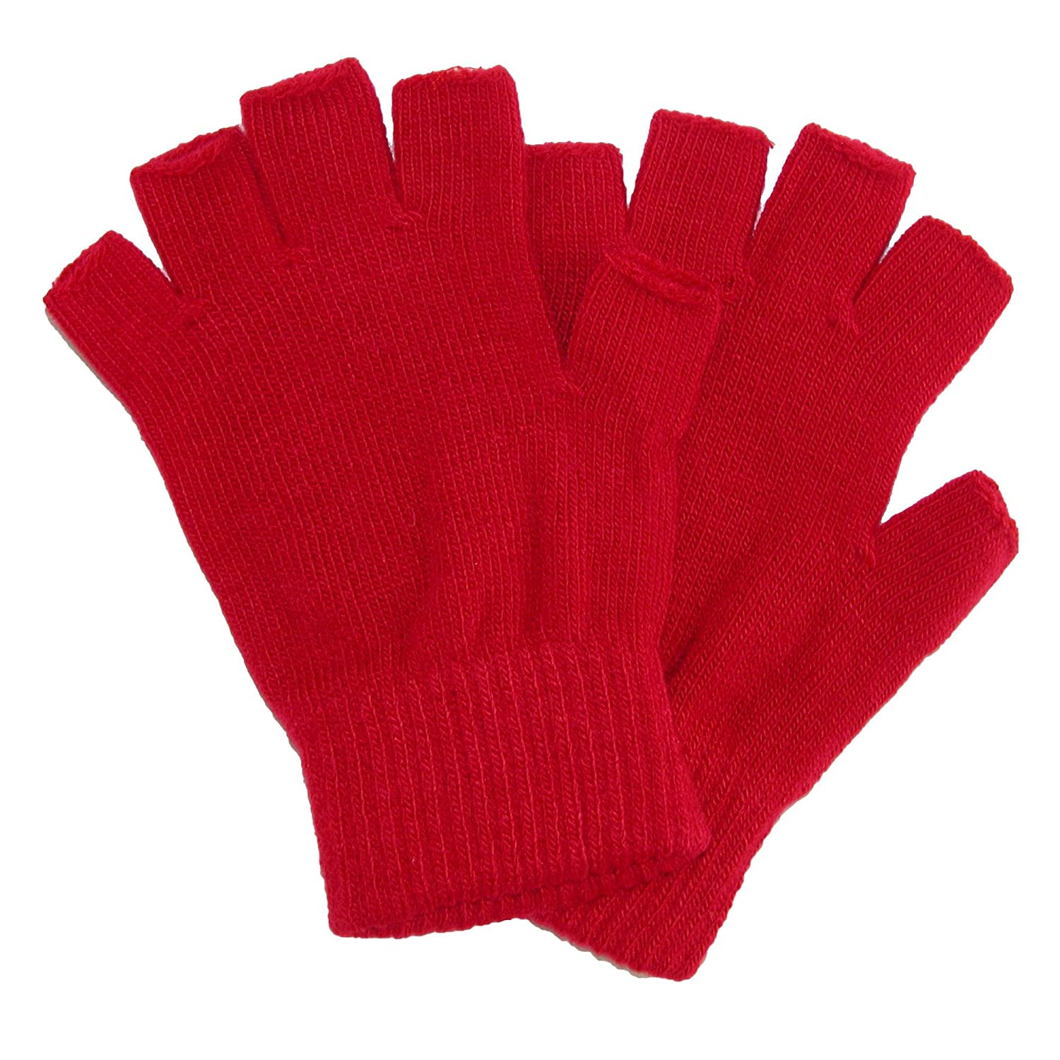 CTM® Kid's Stretch Fingerless Gloves, Red GM-MG1371-RED