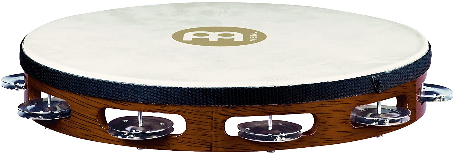 Meinl Percussion TAH1AB Traditional 10-Inch Wood Tambourine with Goat Skin Head and Steel Jingles, 1 Row