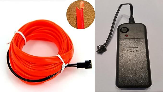 Ambientebeleuchtung EL Lichtschnur Neon Innenraumbeleuchtung 2m Rot ...