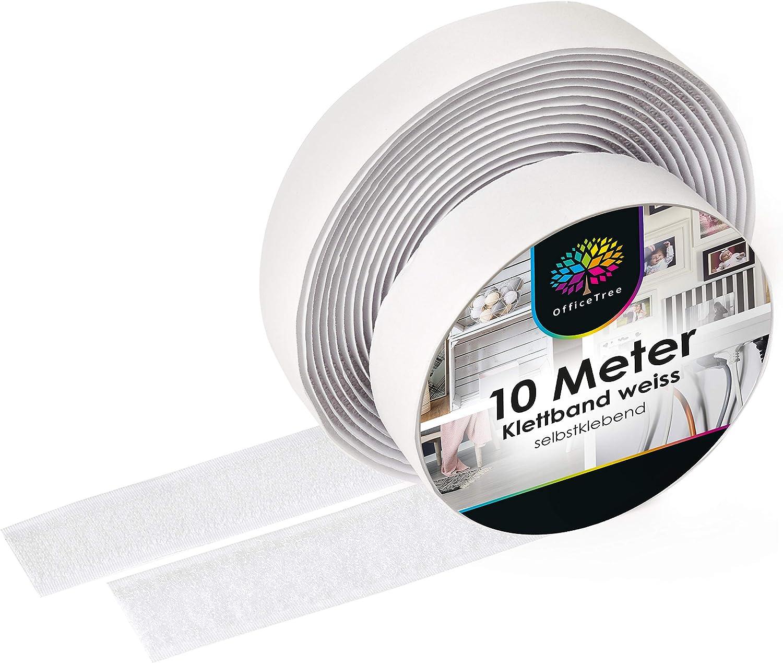 Cinta de Velcro iLP autoadhesiva Blanca - 10 Metros de Largo Aprox. 20 mm de Ancho - fijación Segura Extra Fuerte para Bricolaje - 1 Rollo de Cinta de Velcro y Gancho: Amazon.es: Hogar