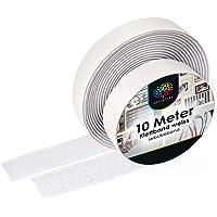 iLP Klittenband, wit, zelfklevend, 10 meter lang, ca. 20 mm breed - veilige bevestiging extra sterk voor doe-het-zelf…