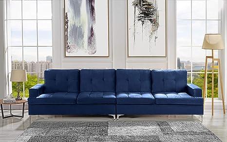 Amazon.com: Sofá tapizado de terciopelo de 126.7 pulgadas ...