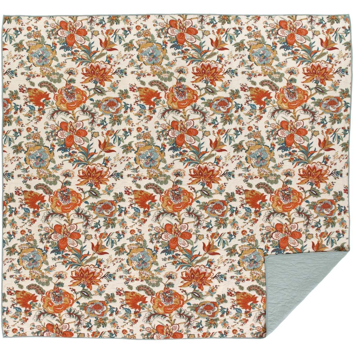 VHC Brands Farmhouse Bedding-Meredith Orange Quilt, Queen