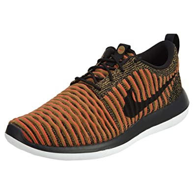 7342e86dd2 Nike Men s Roshe Two Flyknit Black Black White Max Orange Running Shoe 10.  5 Men US  Buy Online at Low Prices in India - Amazon.in
