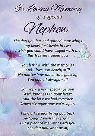 In Loving Memory Of A Special Nephew Memorial Graveside Funeral Poem