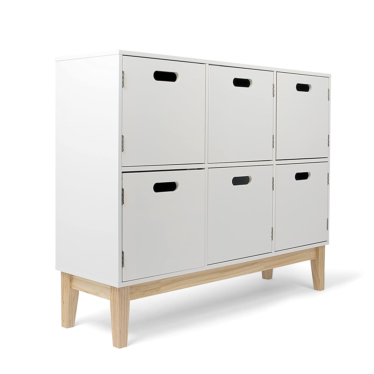 Kledio Chest of Drawers for Children's Bedroom in White – Children's Bedroom Furniture – White Chest of Drawers Made of Wood with 6 Compartments KL-4452