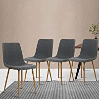 Artiss Fabric Upholstered Dining Chairs Set of 4 - Grey