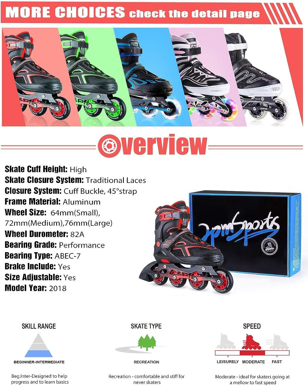 2PM SPORTS Torinx Orange//Red//Green Black Boys Adjustable Inline Skates Men and Ladies Fun Roller Blades for Kids Beginner Roller Skates for Girls