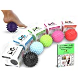 Physix Gear Sport Massage Balls - Best Spiky Ball Roller for Plantar Fasciitis, Trigger Points Neck & Back Pain Relief - Deep Tissue Rehab Reflexology & Acupressure - Reach Areas Foam Rollers Can't