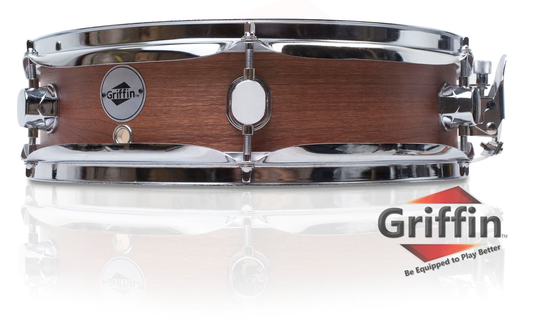 Piccolo Snare Drum 13'' x 3.5'' by Griffin|100% Poplar Wood Shell with Flat Hickory Finish and Coated Drum Head | Professional Drummers Deluxe Percussion Instrument with Bright Tone and Brilliant Attack