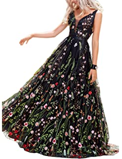 Vanial Womens Floral Embroidered Prom Dress Formal Evening Gown V241