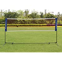 KL KLB Sport Portable Badminton Volleyball Tennis Net Set with Stand/Frame - for Indoor Outdoor Court, Beach Sports