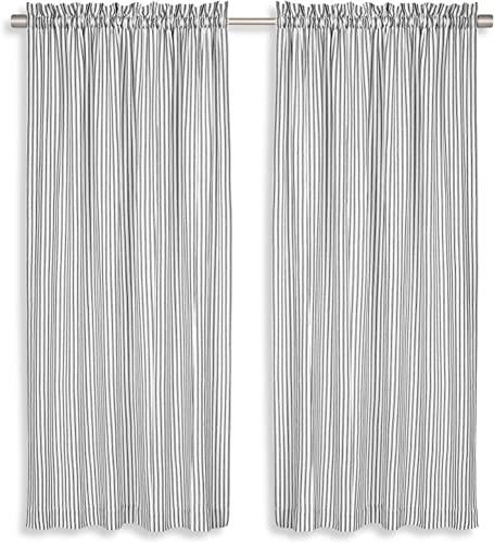 Cackleberry Home Black and White Ticking Stripe Woven Cotton Panel Curtains 54 Inches W x 96 Inches L