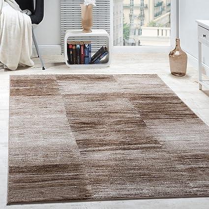 Paco Home Designer Teppich Modern Wohnzimmer Teppiche Kurzflor Karo Meliert  Braun Beige, Grösse:240x330 cm