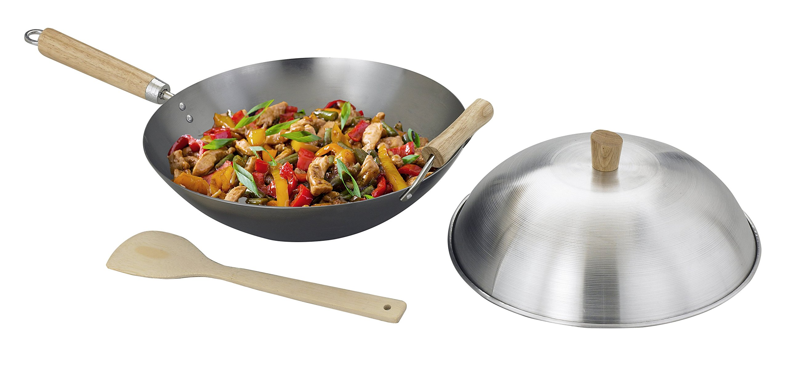Helen Chen's Asian Kitchen Flat Bottom Wok, Carbon Steel with Lid and Stir Fry Spatula, Recipes Included, 14-inch, 3 Piece Set by Helen's Asian Kitchen (Image #2)
