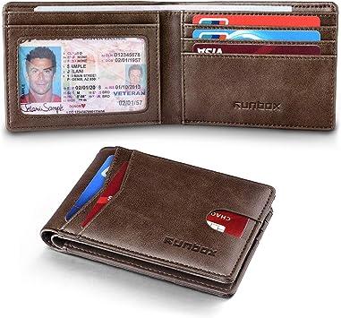 Cuir Véritable Slim Portefeuille pour hommes deux volets Homme Portefeuille avec Fenêtre D/'IDENTIFICATION RFID Bloquant