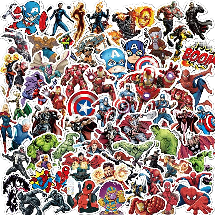 Superhero Stickers for Laptop,Graffiti Waterproof Stickers for Hydro flasks Water Bottles Skateboard Bike Luggage,Superhero Decals Party Favors for Teens,Adults,Boys and Girls Sticker(104pcs)