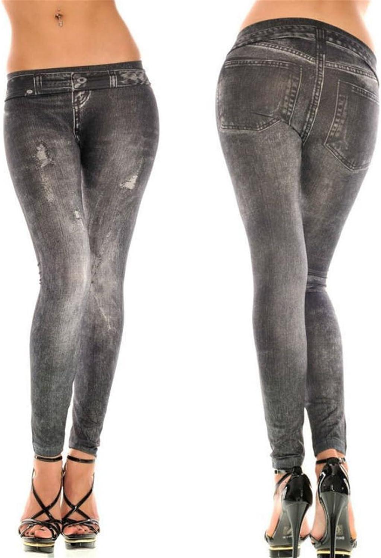 Dise/ño de pantalones vaqueros imitado Azul y Negro Longra Leggings Mujeres Skinny Pantalones negro, Tama/ño libre
