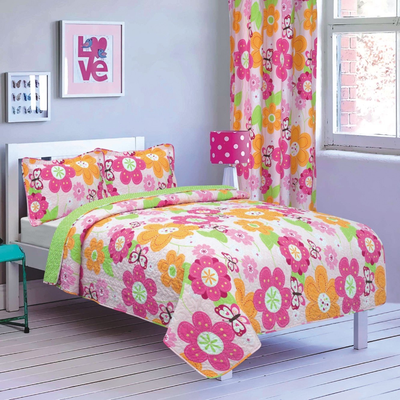 All American Collection New 2pc Printed Modern Bedspread Coverlet Set Twin Bedspread, Pink/Green Floral