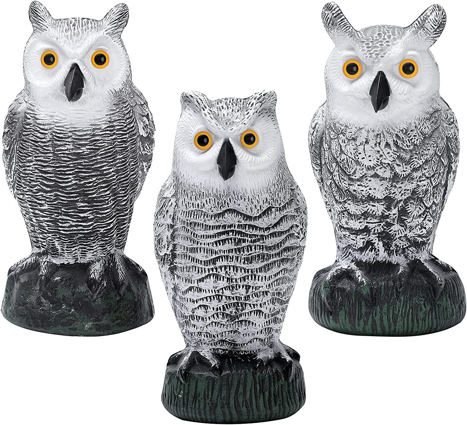 KKY 3 Packs Plastic Owl Bird Scarecrow Sculpture, Can Drive Away Birds and Animals Away from The House, Garden, Swimming Pool