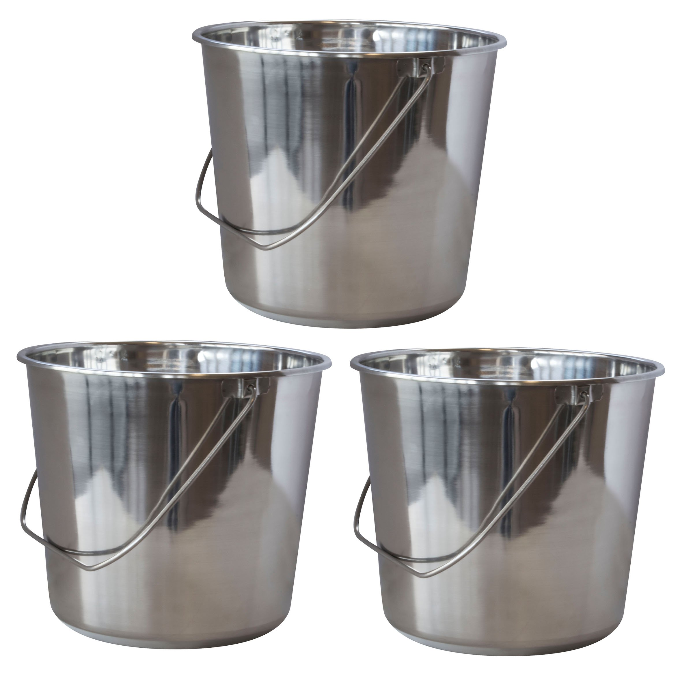 SSB422SET Large Stainless Steel Bucket Set - 3Piece by AmeriHome