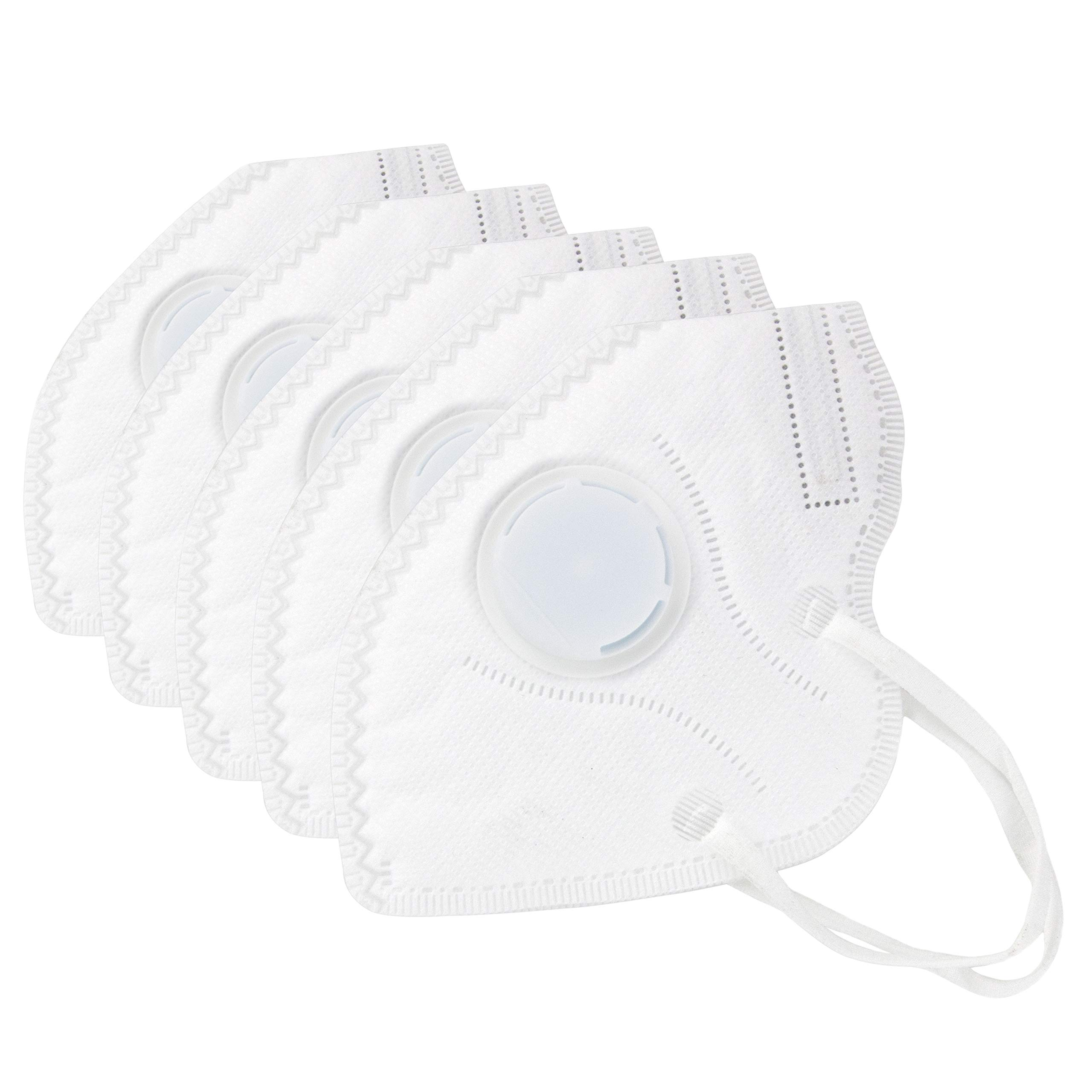 Muryobao Mouth Mask Anti Pollution Mask Unisex Outdoor Protection N95 4 Layer Filter Insert Anti Dust Mask with Valve Filter for Men Women 5 Pack White Upgrade by Muryobao