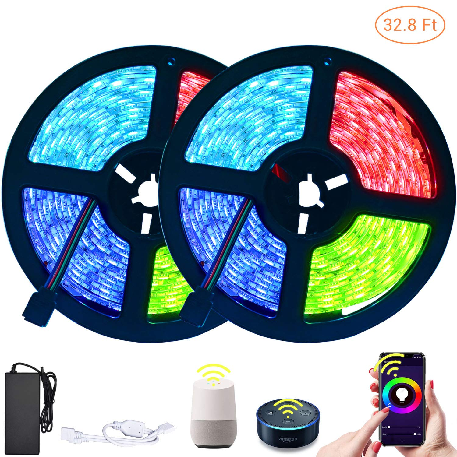 LETOUR LED Strip Lights 10M WiFi Smart RGB Strip Lights 4000K Colors Waterproof IP65 Work with Alexa Google Home & IFTTT Upgrade WiFi Controller 32.8FT 600 LEDs (32.8ft 600LEDs WiFi Control-2Pack)