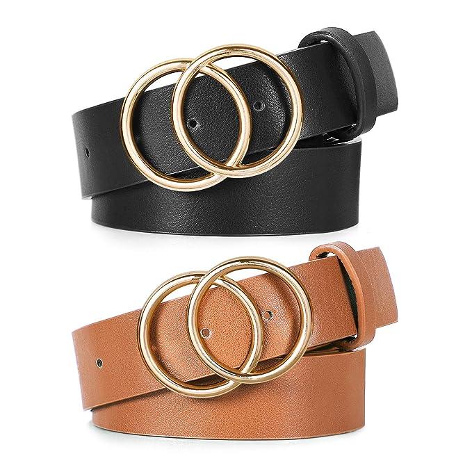 Amazon.com: Cinturón de doble anillo para mujer, de piel ...