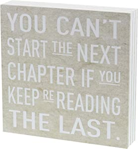 """Barnyard Designs You Can't Start The Next Chapter If You Keep Re-Reading The Last Box Wall Art Sign Primitive Country Home Decor Sign with Sayings 8"""" x 8"""""""