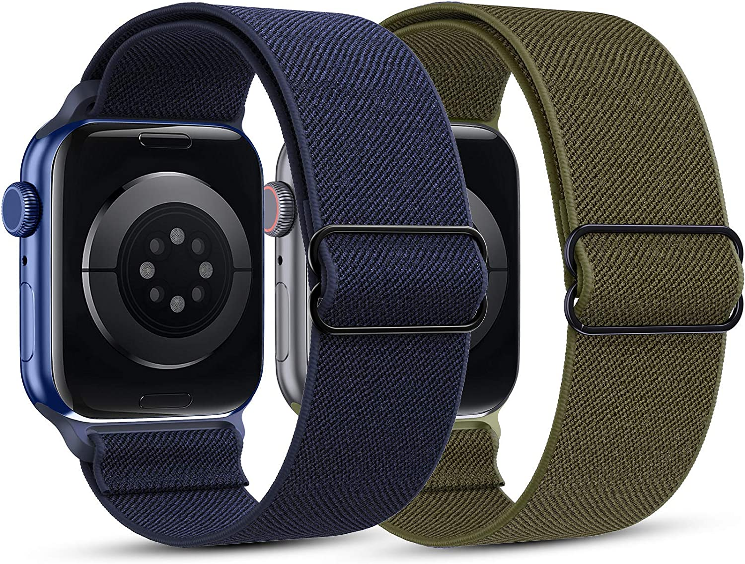 HAPAW [2 Pack] Elastic Nylon Bands Compatible with Apple Watch Bands 38/40/42/44mm, Soft Adjustable Stretchy Solo Loop Breathable Strap Replacement Wristband Women Men for iWatch