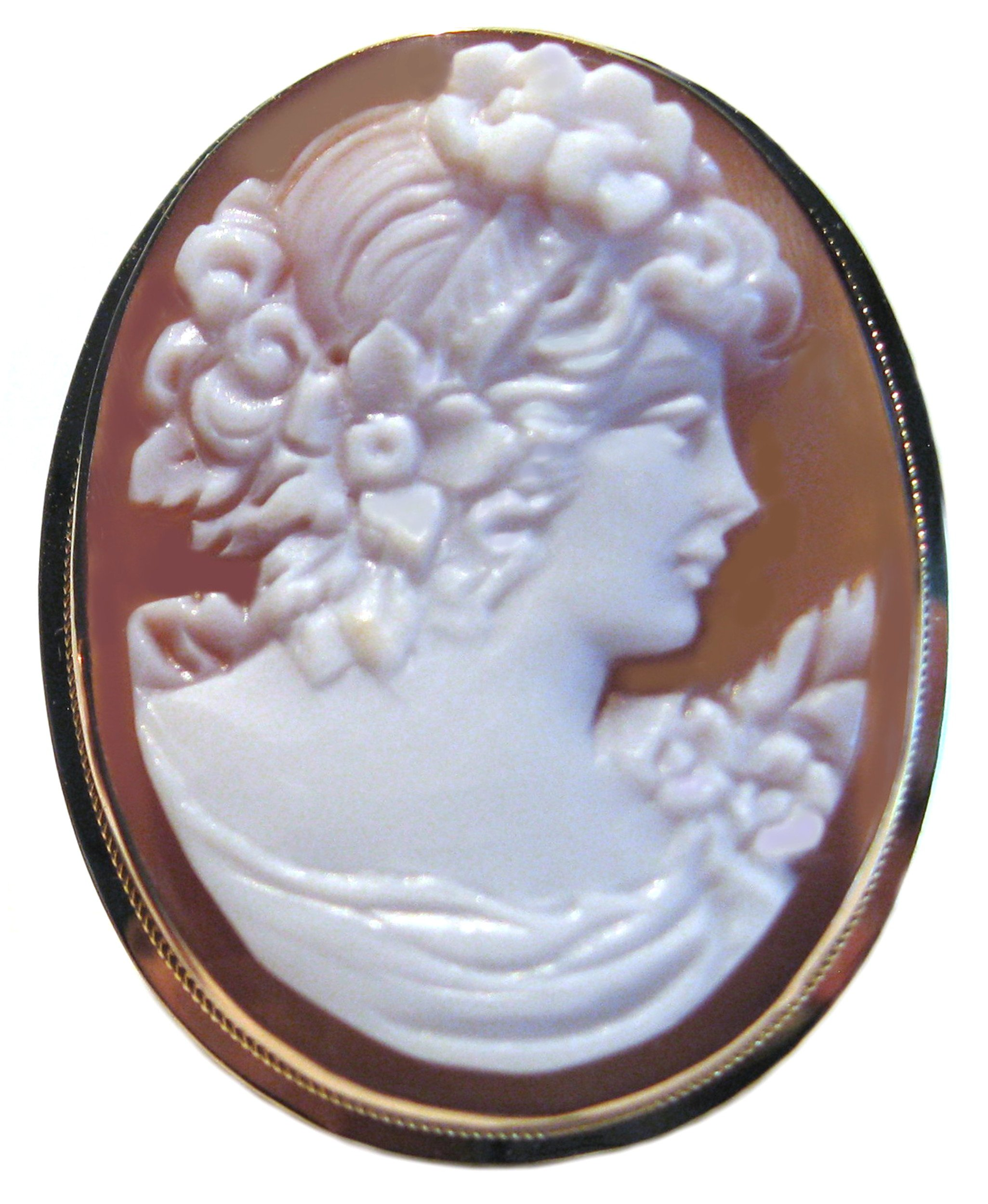 Cameo Brooch Pendant Summer Dream Master Carved, Sardonyx Shell 18k Gold Italian