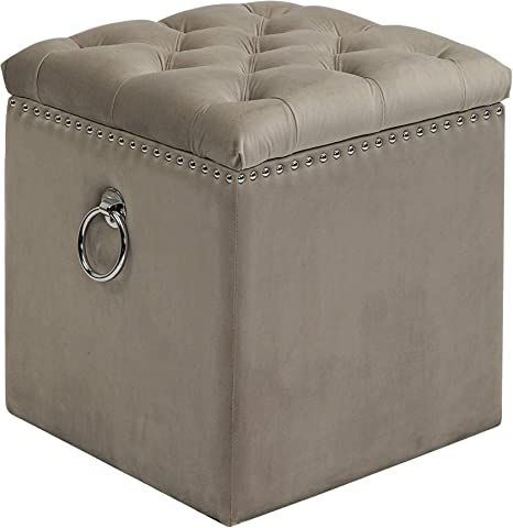 Uttermost Talullah Champagne Velvet Tufted Storage Ottoman Jim Parsons Kitchen Dining